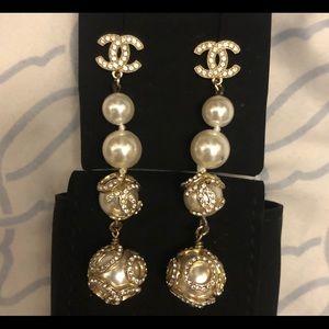 Authentic Chanel pearl drop earrings long crystal